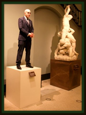 Philip Levine displayed as a Living Sculpture Piece of Art – V&A Friday Late – The Play-House – 25th March 20th, 2011